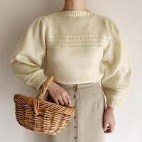 Euro Vintage Boatneck Volume Sleeve Hand Knit Sweater