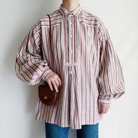 70's Euro Vintage Cotton Striped Folk Blouse