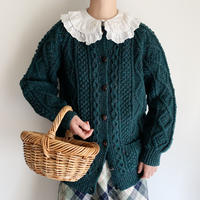 80's Green Mix Irish Cable Hand Knit Cardigan