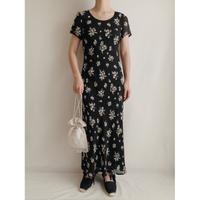 """"""" laura ashley """" All Over Flower Prints Sheer Long Dress"""