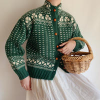 Euro Vintage Clover Motif Nordic Knit Cardigan
