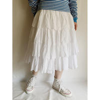 - 50's French Vintage Cotton Cutwork Lace Frill Skirt