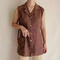 Euro Vintage Brown Sleeveless Long Shirt