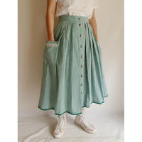 Euro Vintage Gingham Check Heart Buttons Flare Skirt