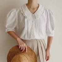 Euro Vintage Scallop Puritan Collar Cotton Blouse