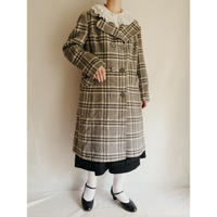 70's UK Plaid Wool and Mohair Mix Double Double breasted Aline Coat
