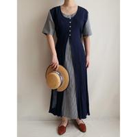 Euro Vintage Layer Design Long Dress With Ribbon