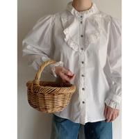 80's Euro Vintage Cotton Frill Design Blouse