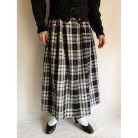 Euro Vintage Plaid Volume Flare Long Skirt