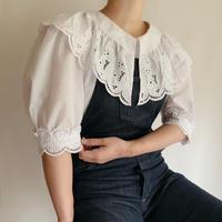 Euro Vintage Cutwork Lace Collar Blouse