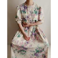 70's All Over Flower Print Cotton Long Dress