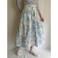 80's Euro Vintage Cotton Flower Printed Folk Flare Skirt With Ribbon