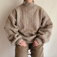 Euro Vintage Volume Sleeve Highneck Knit Sweater