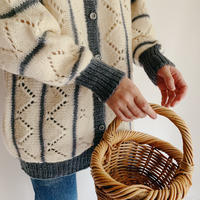 Euro Vintage Striped Hand Knit Cardigan
