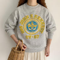 "80's USA "" U.S. Navy "" Emblem Print Sweat Shirt"