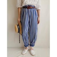 Euro Vintage Striped Tuck Cotton Pants