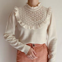 80's Euro Vintage Stand Collar Knit Top