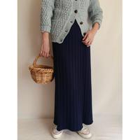 Euro Vintage Navyblue Rib Knit Skirt