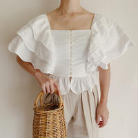 French Vintage Tiered frill Blouse Blouse