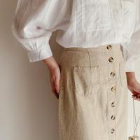 90's Front Buttons Cotton Linen Blend Long Skirt