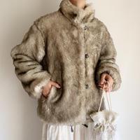 70's Euro Vintage Faux Fur Reversible Short Coat