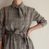 Euro Vintage Plaid Shirt With Ribbon