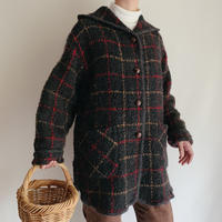 Irish Plaid Fooded Knit Cardigan