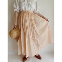 90's India Cotton Salmon Pink Gather Long Skirt