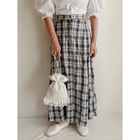 Euro Vintage Plaid Front Buttons Flare Long Skirt