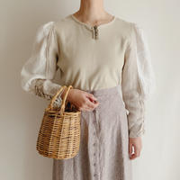 Euro Vintage Linen Volume Sleeve Cut and sewn