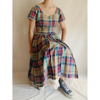 India Cotton Front Buttons Madras Check Flare Dress