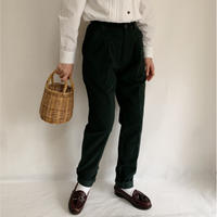90s Euro Vintage Dark Green Cotton Tuck Pants