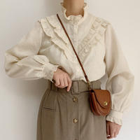 Euro  Vintage Stand Collar Frill Blouse