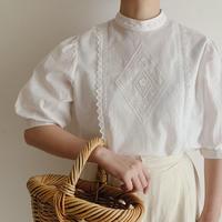 Euro Vintage Stand Collar Cotton Blouse