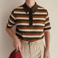 Euro Vintage Striped Knit Polo Shirt