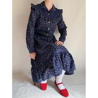 70's Euro Vintage Flower Print Flare Dress