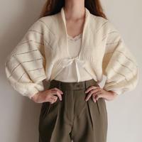 Euro Vintage Volume Sleeve Hand Knit Cardigan