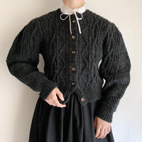 Euro Vintage Volume Sleeve Cable Knit Cardigan