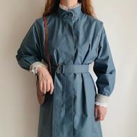 70's - 80's Euro Vintage Dusky Blue Coat With Waist Belt