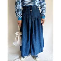 Euro Vintage Denim Flare Long Skirt
