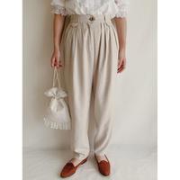 Euro Vintage Plaid Tuck Tapered Pants