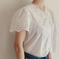 Euro Vintage Cotton Ribbon Embroidery Blouse