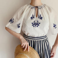 Euro Vintage Flower Embroidery Tunic