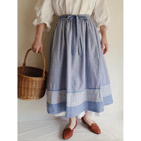 Euro Vintage Plaid Cotton Flare Skirt With Ribbon