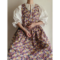 USA  Pansy Pattern Print Cotton Flare Dress