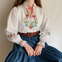 Euro Vintage Flower Hand Embroidery Folk Tunic