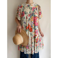 80's India Cotton Rayon Flower Printed Long Tunic
