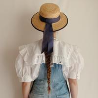 80's Euro Vintage Cutwork Lace Sailor Collar Blouse