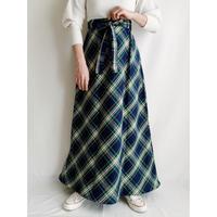70's USA Plaid Maxi Length Skirt With Ribbon