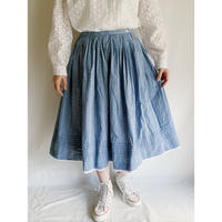 70's Euro Vintage Cotton Plaid Flare Skirt
